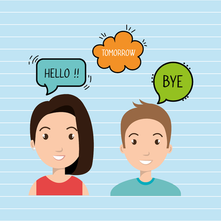 persons talk speech chat bubble vector illustration