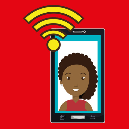 smartphone wifi woman online vector illustration eps 10