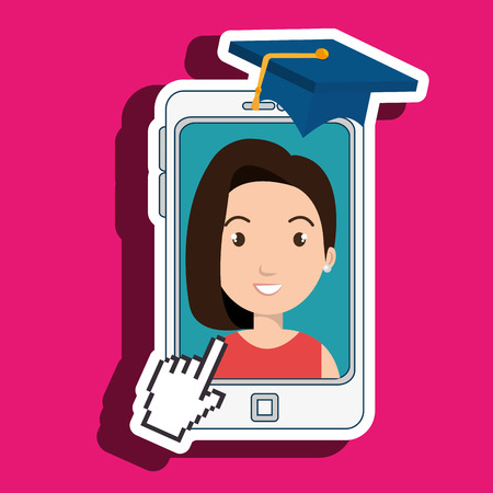 tied girl: woman student smartphone apps vector illustration eps 10