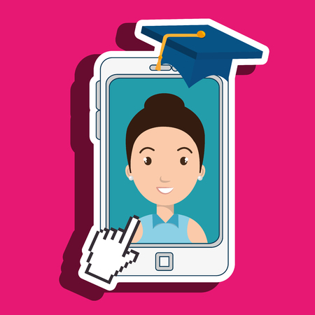 smartphone apps: woman student smartphone apps vector illustration eps 10