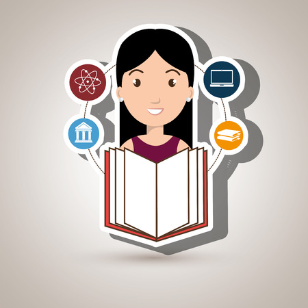 girl using laptop: student books college laptop vector illustration eps 10