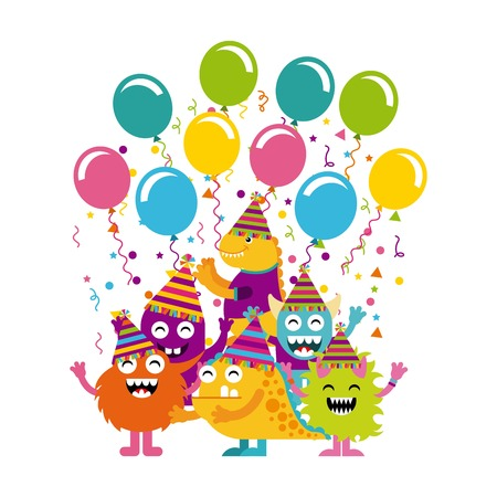monster characters in birthday party vector illustration design Illustration