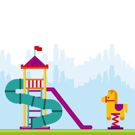 schoolyard: beautiful children playground icon vector illustration design Illustration