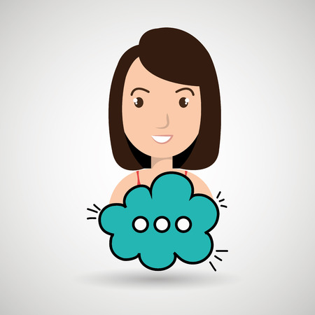 woman cartoon cloud blue speack chat vector illustration eps 10