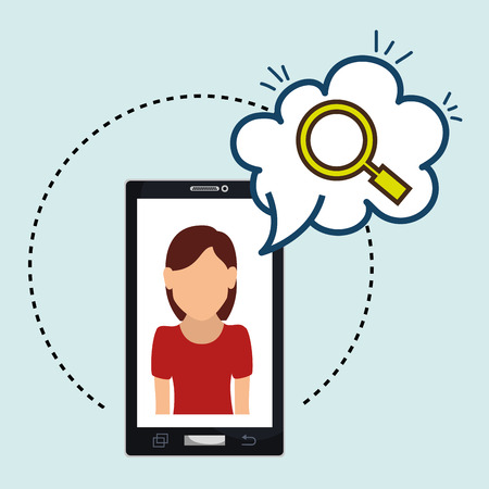 cloud search: woman cartoon tshirt red smartphone black cloud search vector illustration Illustration