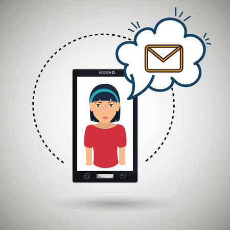 woman smartphone: cartoon woman smartphone cloud email vector illustration eps 10