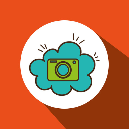 camera green photographic cloud blue icon vector illutration eps 10