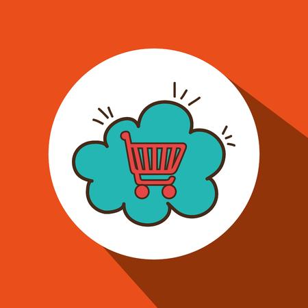 sell car: car shop buy online cloud vector illustration eps 10 Illustration
