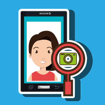 woman cartoon smartphone camera search vector illustration eps 10