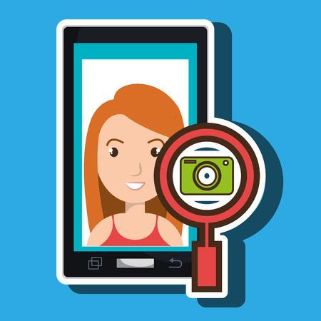 woman cartoon smartphone camera search vector illustration eps 10