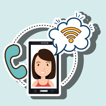 woman smartphone black wifi and telephone blue vector illustration
