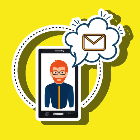 cartoon man smartphone cloud email vector illustration eps 10