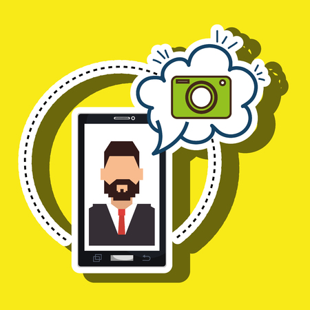 cartoon man smartphone camera vector illustration eps 10 Illustration