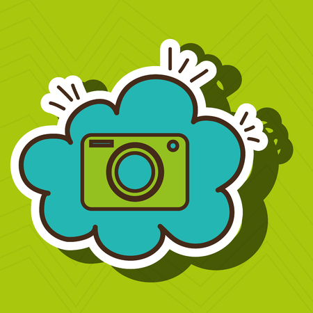 reveal: camera green photographic cloud blue icon vector illutration eps 10