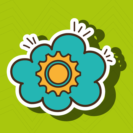 gear yellow wheel cog cloud vector illustration eps 10