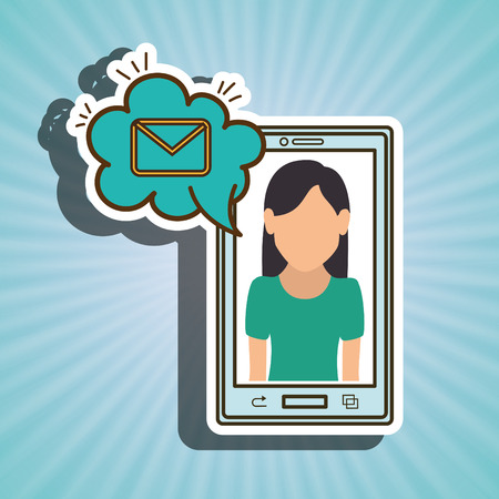 woman smartphone: cartoon woman smartphone cloud email vector illustration eps 10