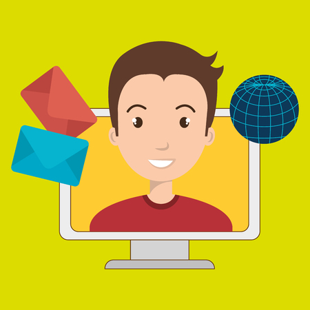 man with laptop: man laptop global message vector illustration eps 10 Illustration