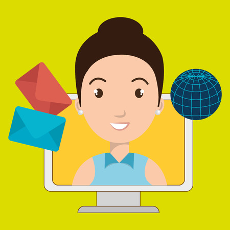 woman with laptop: woman laptop global message vector illustration eps 10