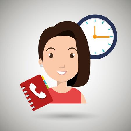 directorio telefonico: Mujer directorio telef�nico reloj ilustraci�n vectorial eps 10