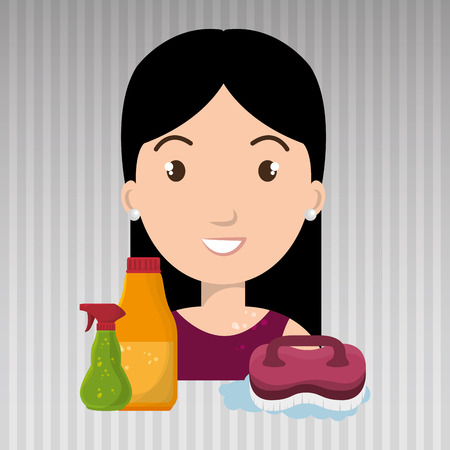 house clearance: woman cartoon clear brush cleaning vector illustration eps 10