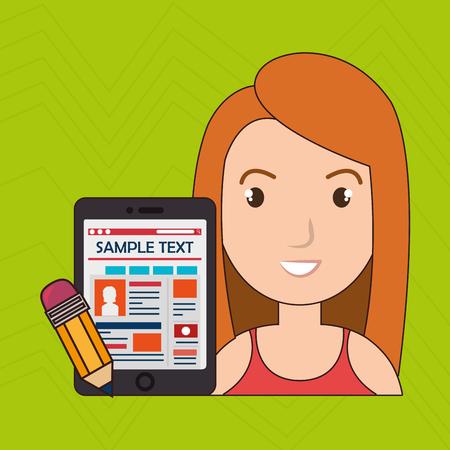 sample: woman cartoon smartphone sample test vector illustration eps 10 Illustration
