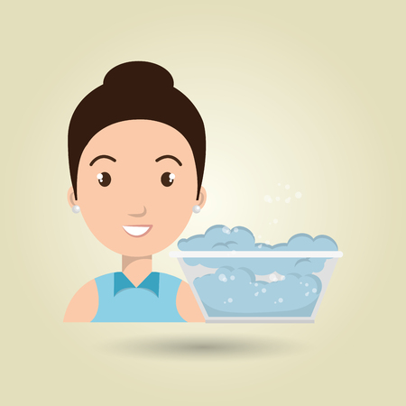 bun: woman cartoon water bucket plastic detergent vector illustration eps 10