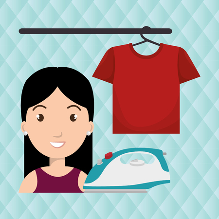 girl shirt: woman cartoon ironing hang tshirt vector illustration eps 10 Illustration