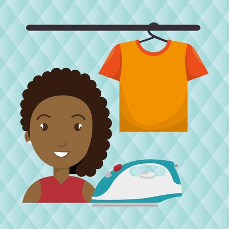 woman cartoon ironing hang tshirt vector illustration eps 10 Illustration