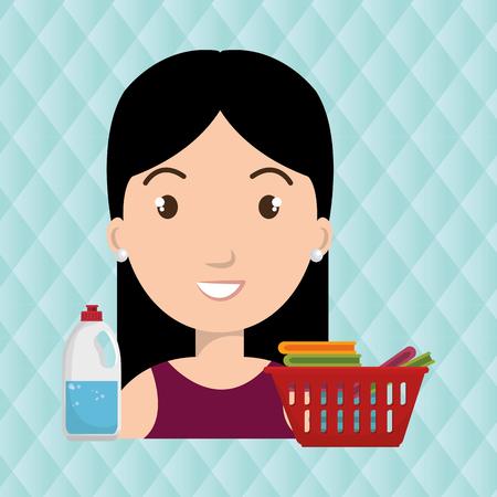 womna cartoon basket red clothes detergent vector illustration eps 10