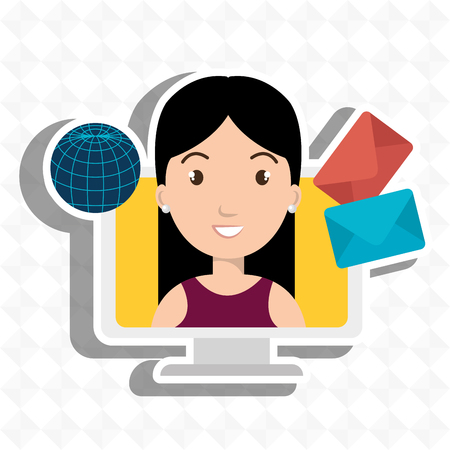woman laptop: woman laptop global message vector illustration eps 10
