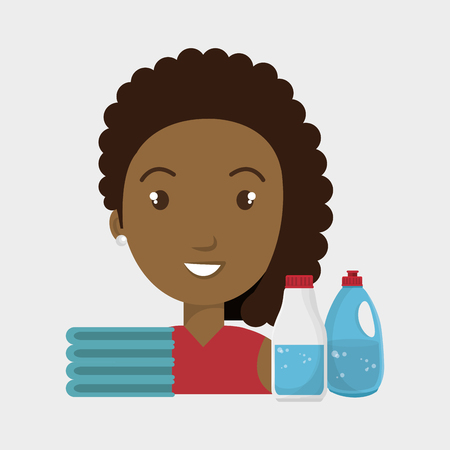 homemaker: woman cartoon clothes detergent vector illustration eps 10 Illustration