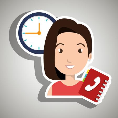 directorio telefonico: Mujer directorio telefónico reloj ilustración vectorial eps 10
