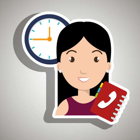 directory: woman directory telephone clock vector illustration eps 10