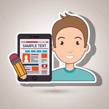 alchemist: man cartoon smartphone sample test vector illustration eps 10 Illustration