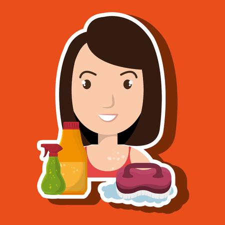 donna del fumetto spazzola chiara illustrazione di pulizia vettoriale eps 10