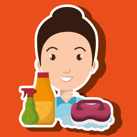 woman cartoon clear brush cleaning vector illustration eps 10