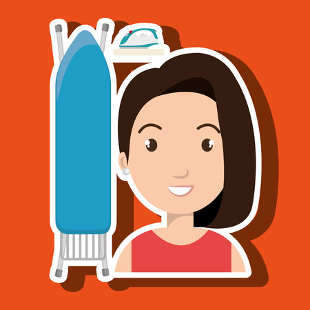 cartoon woman board ironing clothes vector illustration eps 10