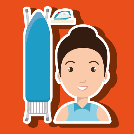 ironing: cartoon woman board ironing clothes vector illustration eps 10