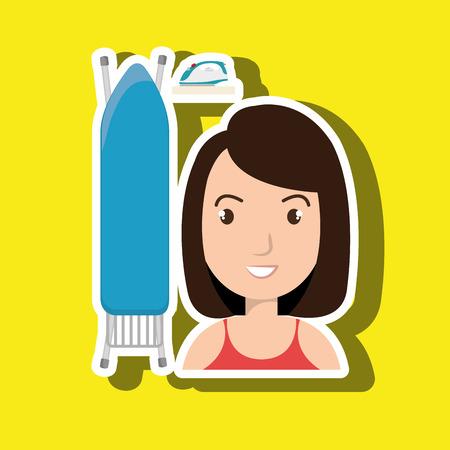 cartoon woman board ironing clothes vector illustration eps 10