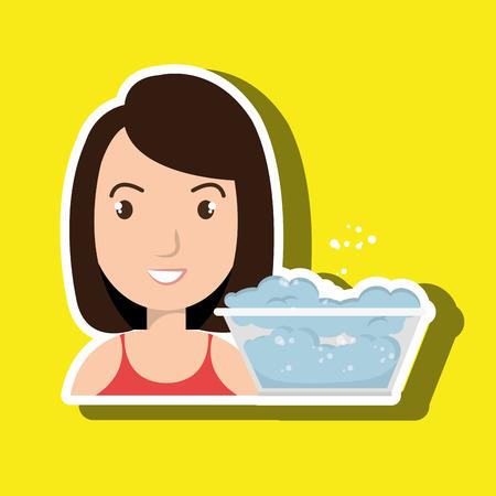 woman cartoon water bucket plastic detergent vector illustration eps 10