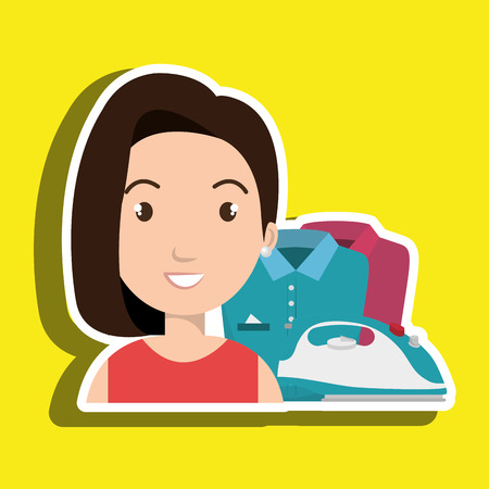 tied girl: cartoon woman clothes ironing vector illustration eps 10