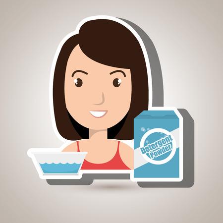 seau d eau: femme détergente cartoon seau vecteur eau illustration eps 10