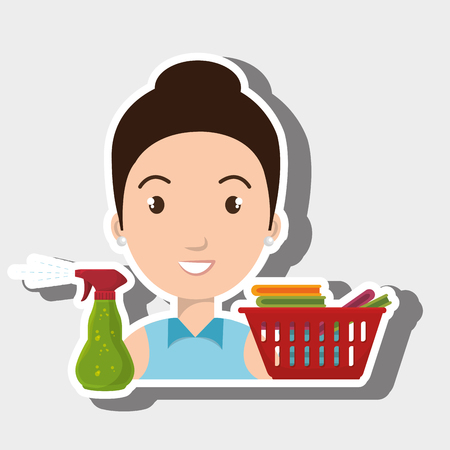 woman cartoon basket clothes spray vector illustration eps 10 Illustration