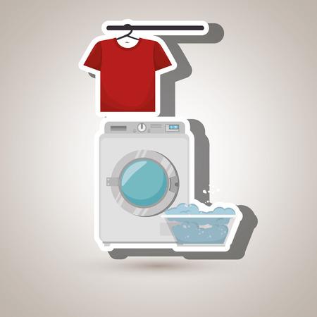 launderette: washing machine clothes detergent vector illustration eps 10