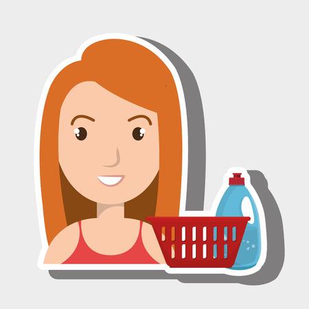 woman cartoon basket detergent bottle vector illustration eps 10 Illustration