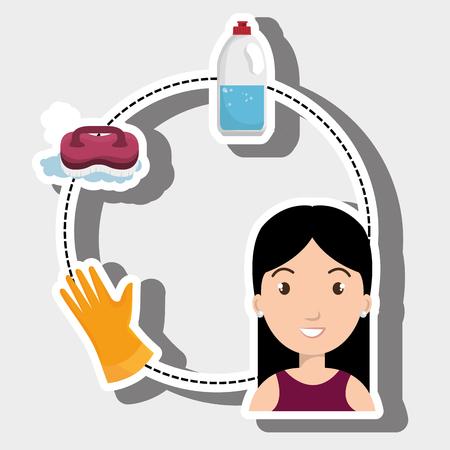 woman washing clothes hang gloves vector illustration eps 10