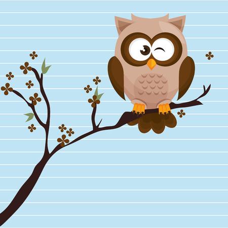 owl brown tree leaves brown vector illustration eps 10 Illustration