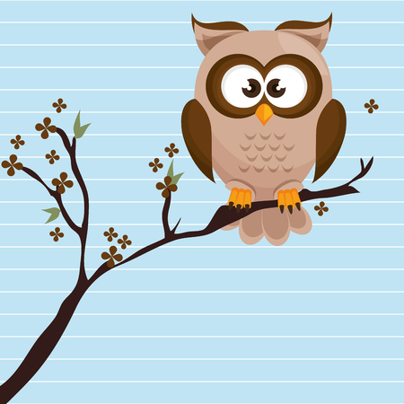 owl brown tree leaves brown vector illustration eps 10 Illustration