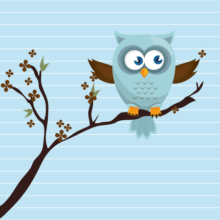 owl blue tree leaves blue vector illustration eps 10