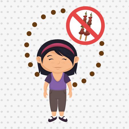 no cholesterol: cartoon child girl fast food danger symbol vector illustration